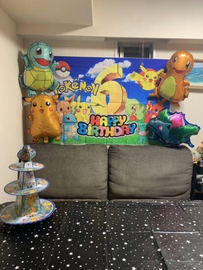 6歳息子用の誕生日の飾り付けの写真です